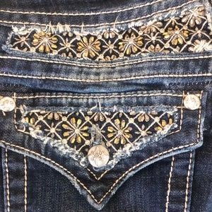 MISS ME Golden Crystal Beaded Snowflake Jeans 30